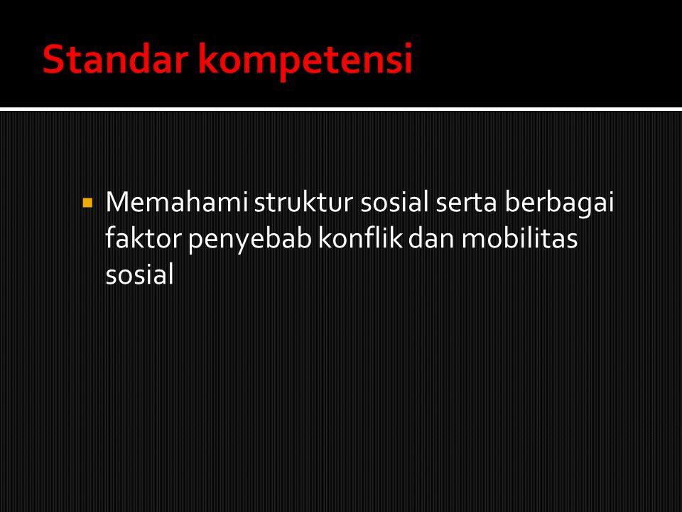  Memahami struktur sosial serta berbagai faktor penyebab konflik dan mobilitas sosial