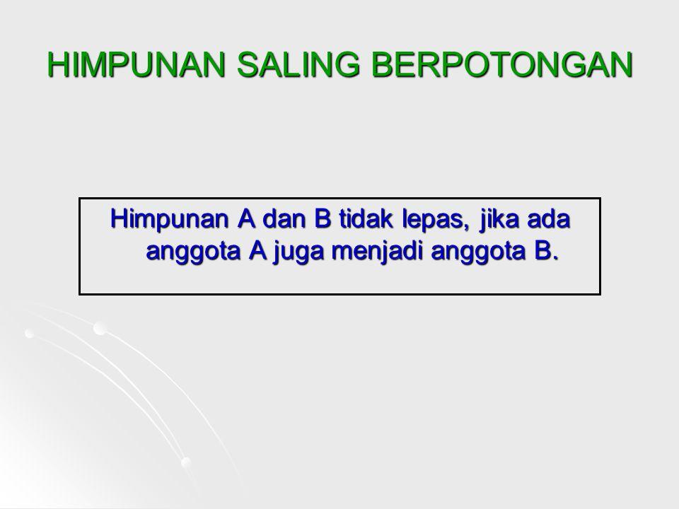 HIMPUNAN SALING BERPOTONGAN Himpunan A dan B tidak lepas, jika ada anggota A juga menjadi anggota B.
