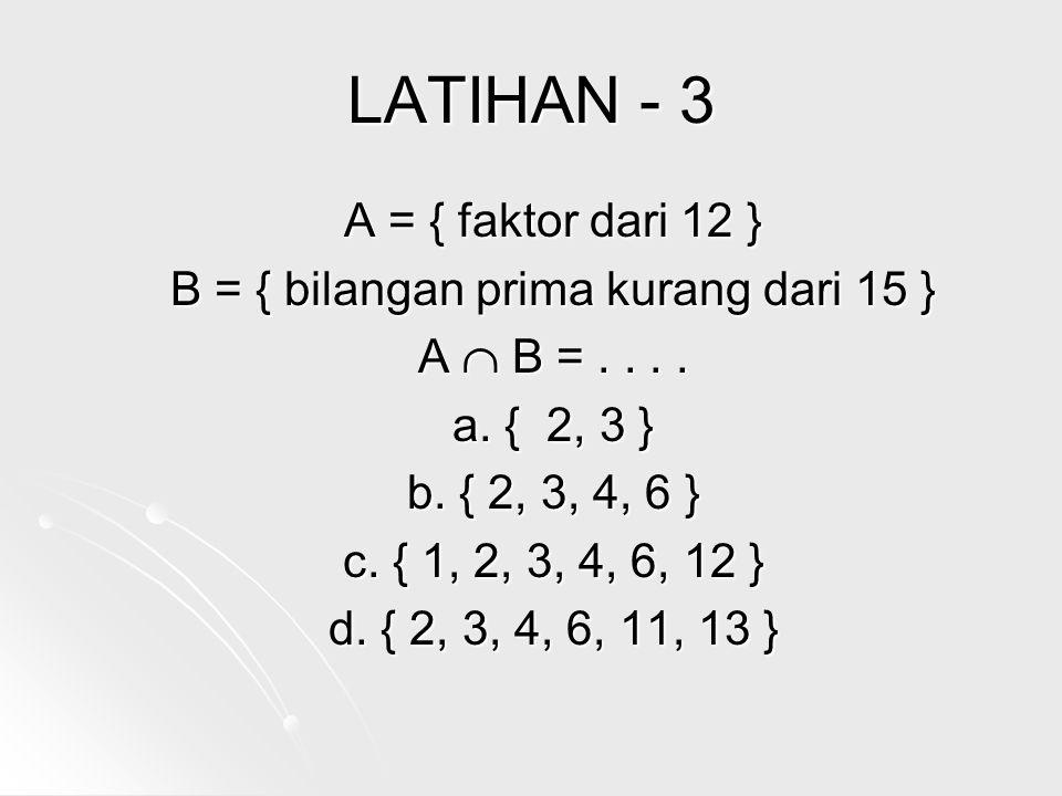 LATIHAN - 3 A = { faktor dari 12 } B = { bilangan prima kurang dari 15 } A  B =....