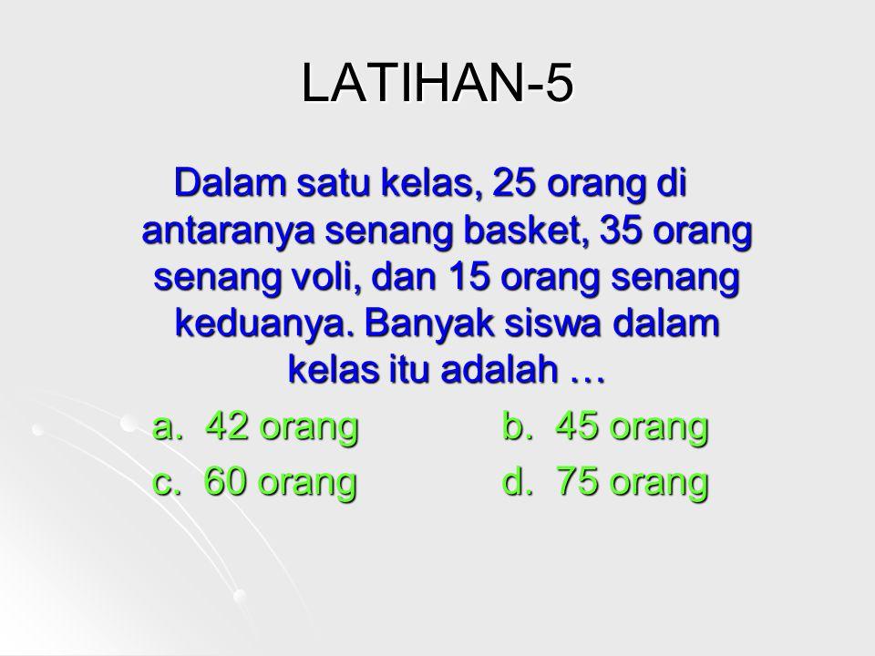 LATIHAN-5 Dalam satu kelas, 25 orang di antaranya senang basket, 35 orang senang voli, dan 15 orang senang keduanya.