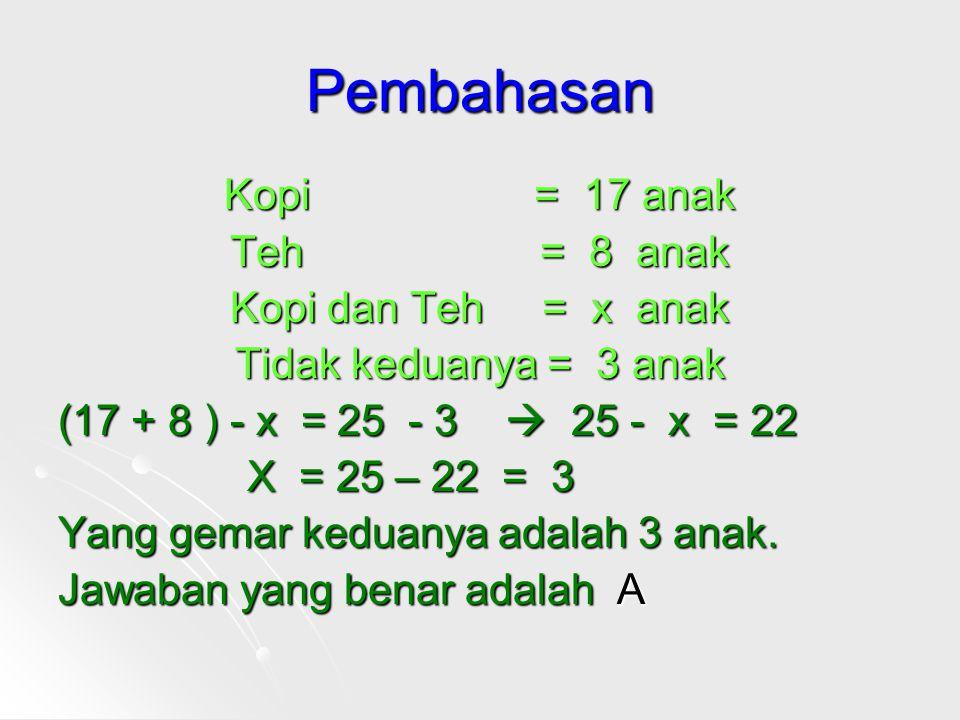 Pembahasan Kopi = 17 anak Teh = 8 anak Kopi dan Teh = x anak Tidak keduanya = 3 anak (17 + 8 ) - x = 25 - 3  25 - x = 22 X = 25 – 22 = 3 Yang gemar keduanya adalah 3 anak.