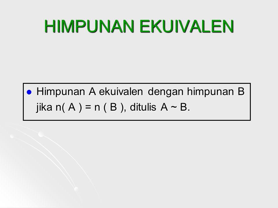 HIMPUNAN EKUIVALEN Himpunan A ekuivalen dengan himpunan B jika n( A ) = n ( B ), ditulis A ~ B.