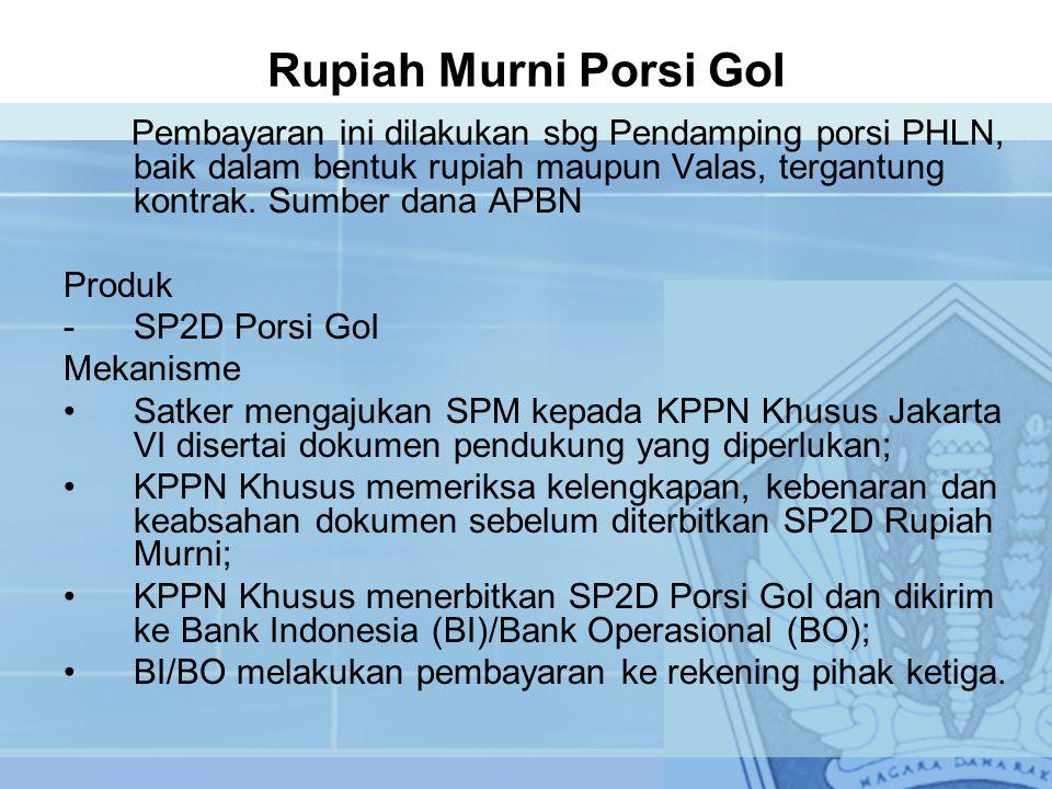 Rupiah Murni Porsi GoI Pembayaran ini dilakukan sbg Pendamping porsi PHLN, baik dalam bentuk rupiah maupun Valas, tergantung kontrak. Sumber dana APBN