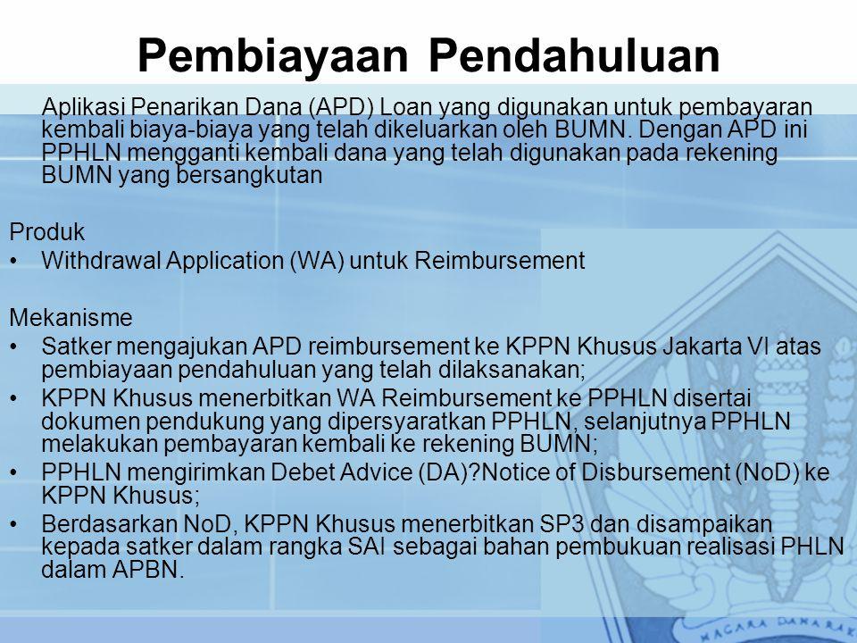 Pembiayaan Pendahuluan Aplikasi Penarikan Dana (APD) Loan yang digunakan untuk pembayaran kembali biaya-biaya yang telah dikeluarkan oleh BUMN. Dengan