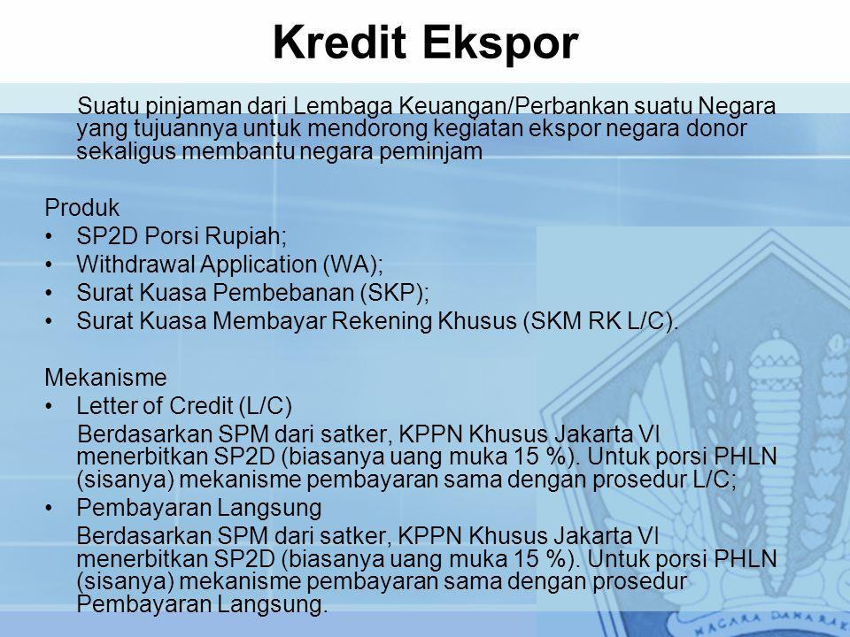 Kredit Ekspor Suatu pinjaman dari Lembaga Keuangan/Perbankan suatu Negara yang tujuannya untuk mendorong kegiatan ekspor negara donor sekaligus memban