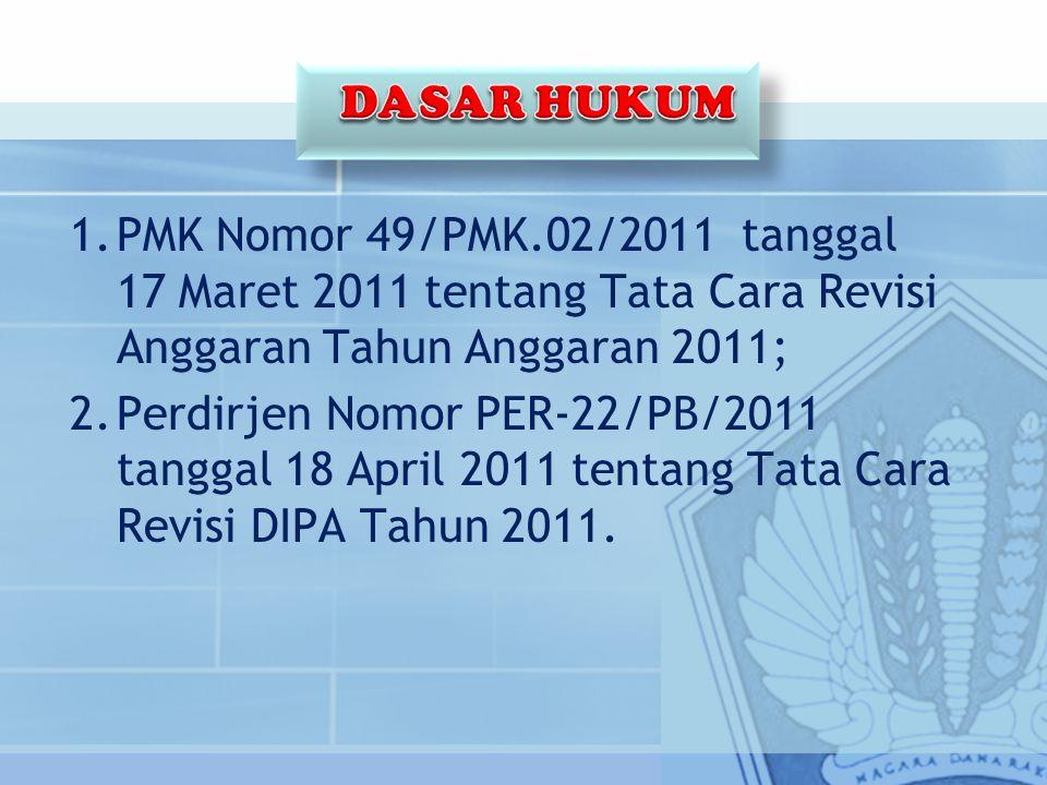 1.PMK Nomor 49/PMK.02/2011 tanggal 17 Maret 2011 tentang Tata Cara Revisi Anggaran Tahun Anggaran 2011; 2.Perdirjen Nomor PER-22/PB/2011 tanggal 18 April 2011 tentang Tata Cara Revisi DIPA Tahun 2011.