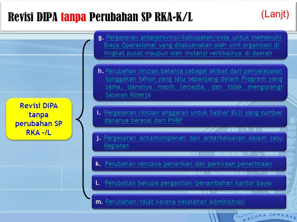 Revisi DIPA tanpa perubahan SP RKA -/L h.Perubahan rincian belanja sebagai akibat dari penyelesaian tunggakan tahun yang lalu sepanjang dalam Program yang sama, dananya masih tersedia, dan tidak mengurangi Sasaran Kinerja h.Perubahan rincian belanja sebagai akibat dari penyelesaian tunggakan tahun yang lalu sepanjang dalam Program yang sama, dananya masih tersedia, dan tidak mengurangi Sasaran Kinerja Revisi DIPA tanpa Perubahan SP RKA-K/L (Lanjt) g.