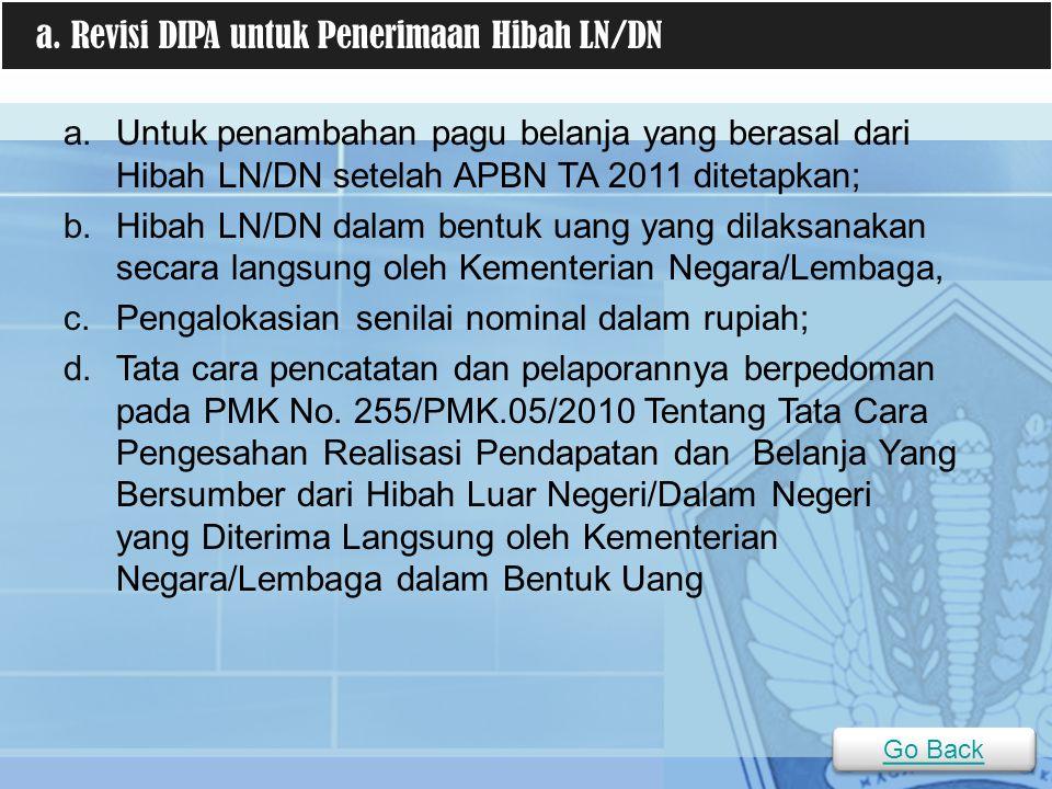 a.Untuk penambahan pagu belanja yang berasal dari Hibah LN/DN setelah APBN TA 2011 ditetapkan; b.Hibah LN/DN dalam bentuk uang yang dilaksanakan secar