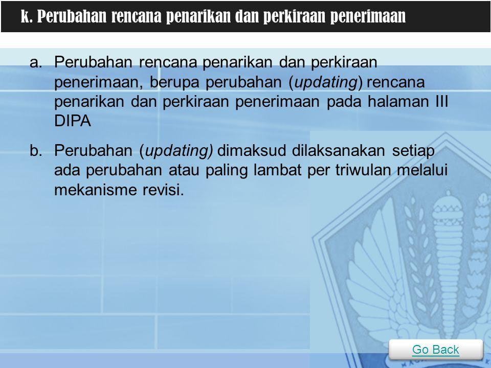 a.Perubahan rencana penarikan dan perkiraan penerimaan, berupa perubahan (updating) rencana penarikan dan perkiraan penerimaan pada halaman III DIPA b