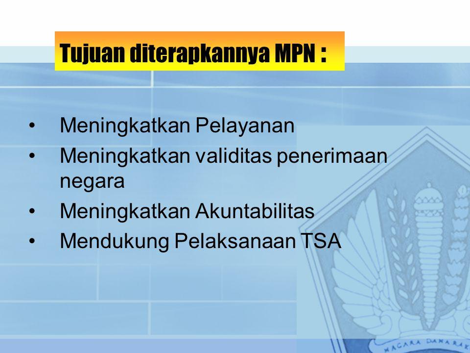 Meningkatkan Pelayanan Meningkatkan validitas penerimaan negara Meningkatkan Akuntabilitas Mendukung Pelaksanaan TSA Tujuan diterapkannya MPN :