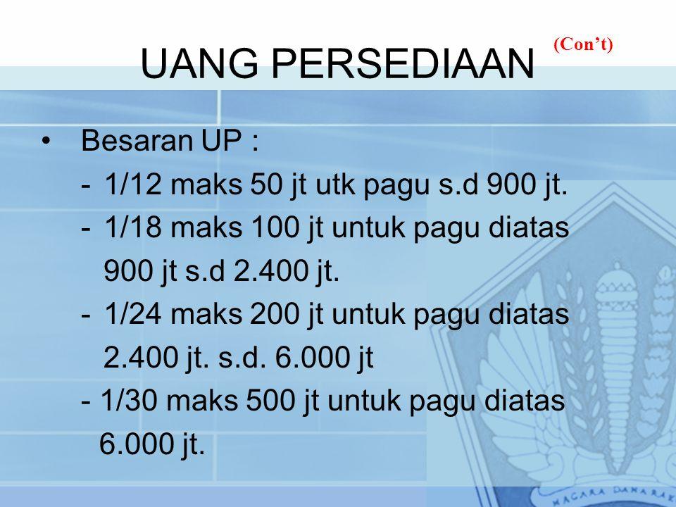 UANG PERSEDIAAN Besaran UP : -1/12 maks 50 jt utk pagu s.d 900 jt. -1/18 maks 100 jt untuk pagu diatas 900 jt s.d 2.400 jt. -1/24 maks 200 jt untuk pa