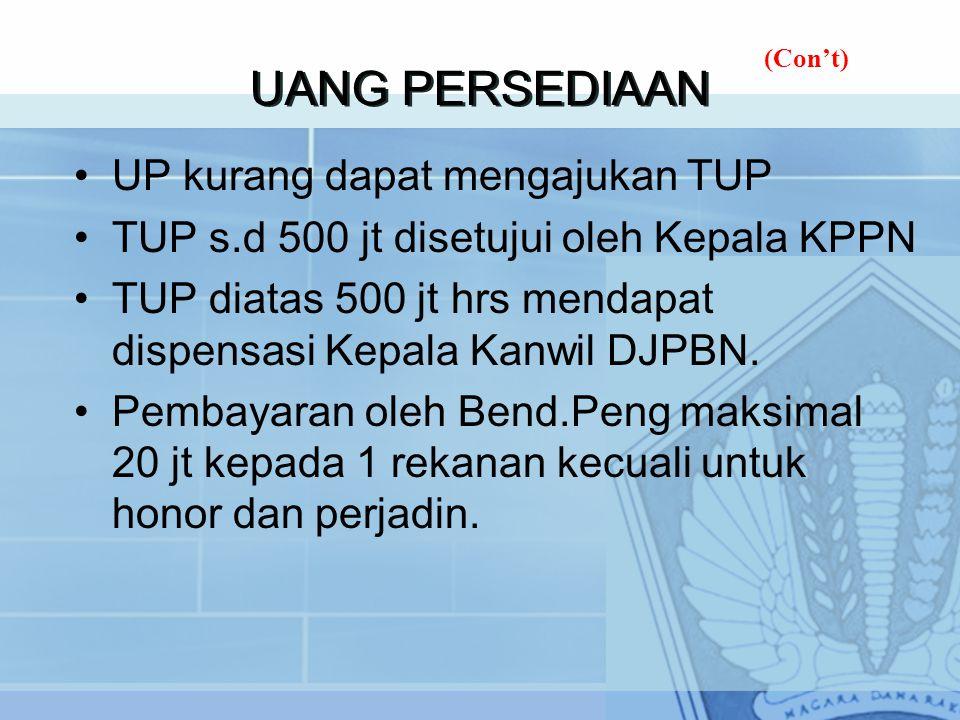 UANG PERSEDIAAN UP kurang dapat mengajukan TUP TUP s.d 500 jt disetujui oleh Kepala KPPN TUP diatas 500 jt hrs mendapat dispensasi Kepala Kanwil DJPBN