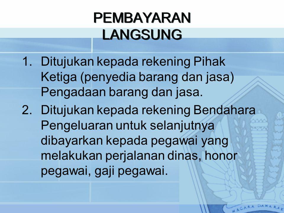PEMBAYARAN LANGSUNG 1.Ditujukan kepada rekening Pihak Ketiga (penyedia barang dan jasa) Pengadaan barang dan jasa.