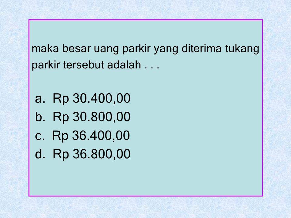 maka besar uang parkir yang diterima tukang parkir tersebut adalah... a. Rp 30.400,00 b. Rp 30.800,00 c. Rp 36.400,00 d. Rp 36.800,00