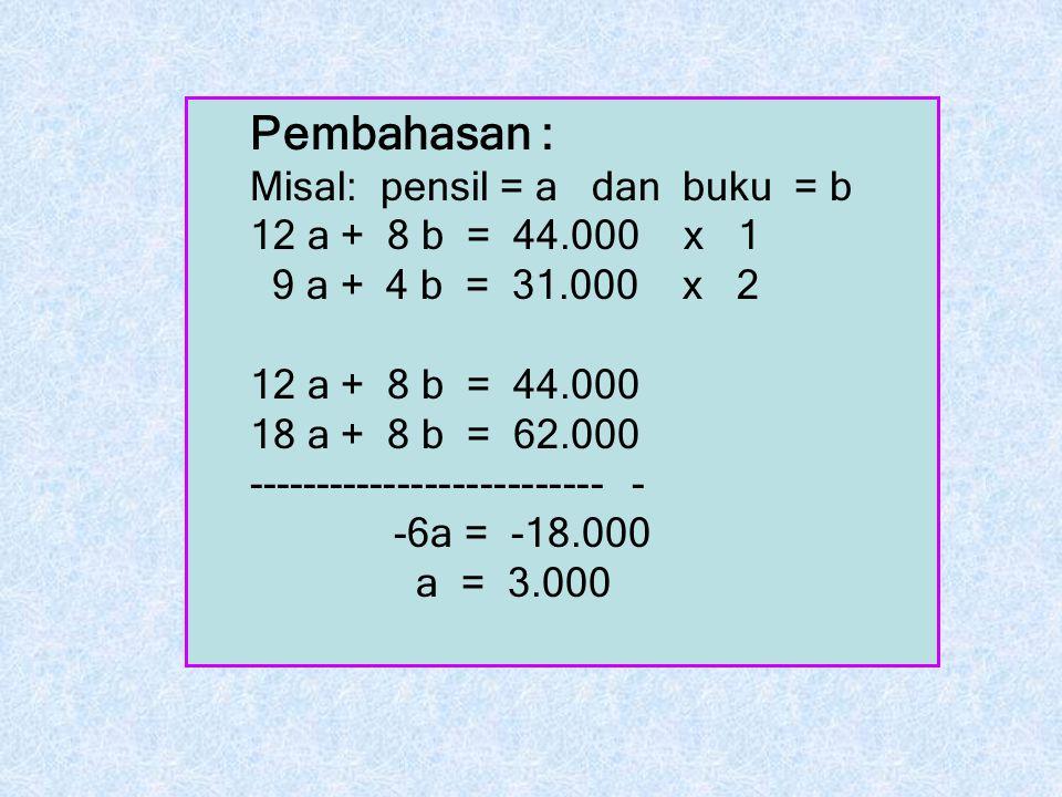 Pembahasan : Misal: pensil = a dan buku = b 12 a + 8 b = 44.000 x 1 9 a + 4 b = 31.000 x 2 12 a + 8 b = 44.000 18 a + 8 b = 62.000 -------------------