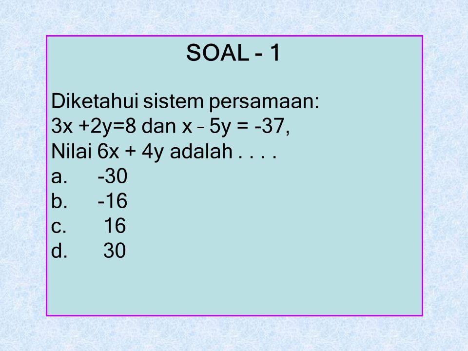 SOAL - 1 Diketahui sistem persamaan: 3x +2y=8 dan x – 5y = -37, Nilai 6x + 4y adalah.... a.-30 b.-16 c. 16 d. 30