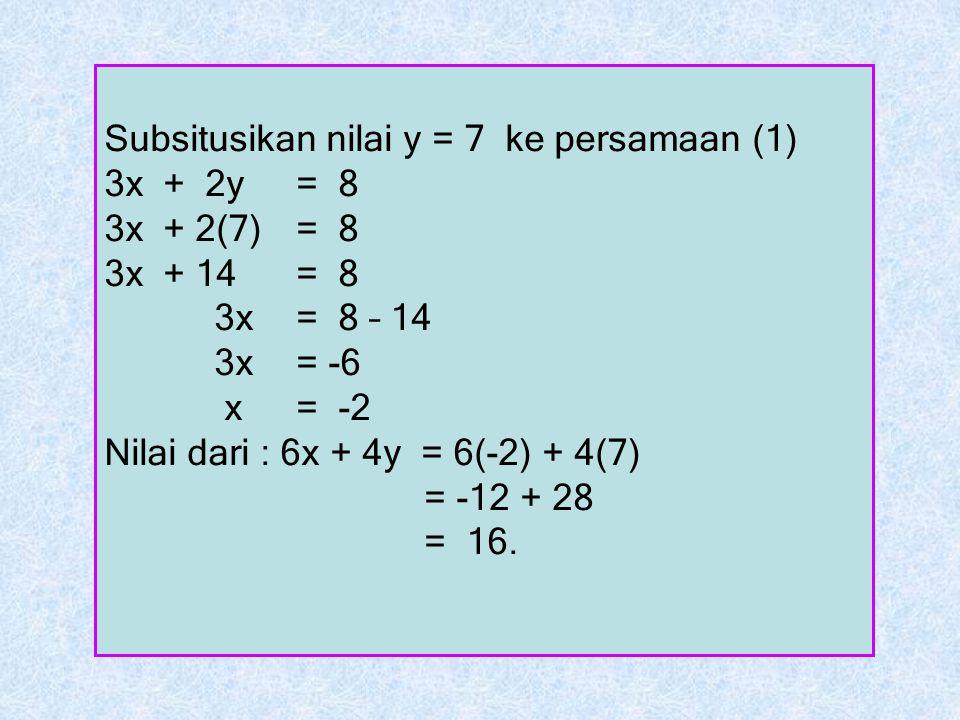 Subsitusikan nilai y = 7 ke persamaan (1) 3x + 2y = 8 3x + 2(7) = 8 3x + 14 = 8 3x = 8 – 14 3x = -6 x = -2 Nilai dari : 6x + 4y = 6(-2) + 4(7) = -12 +