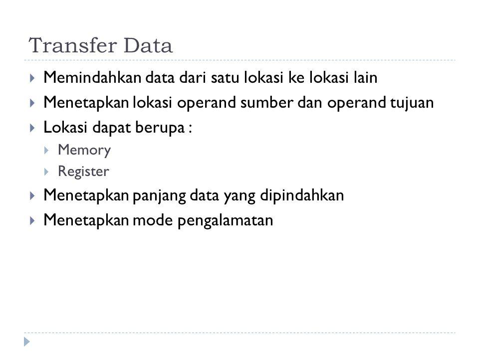 Transfer Data  Memindahkan data dari satu lokasi ke lokasi lain  Menetapkan lokasi operand sumber dan operand tujuan  Lokasi dapat berupa :  Memor