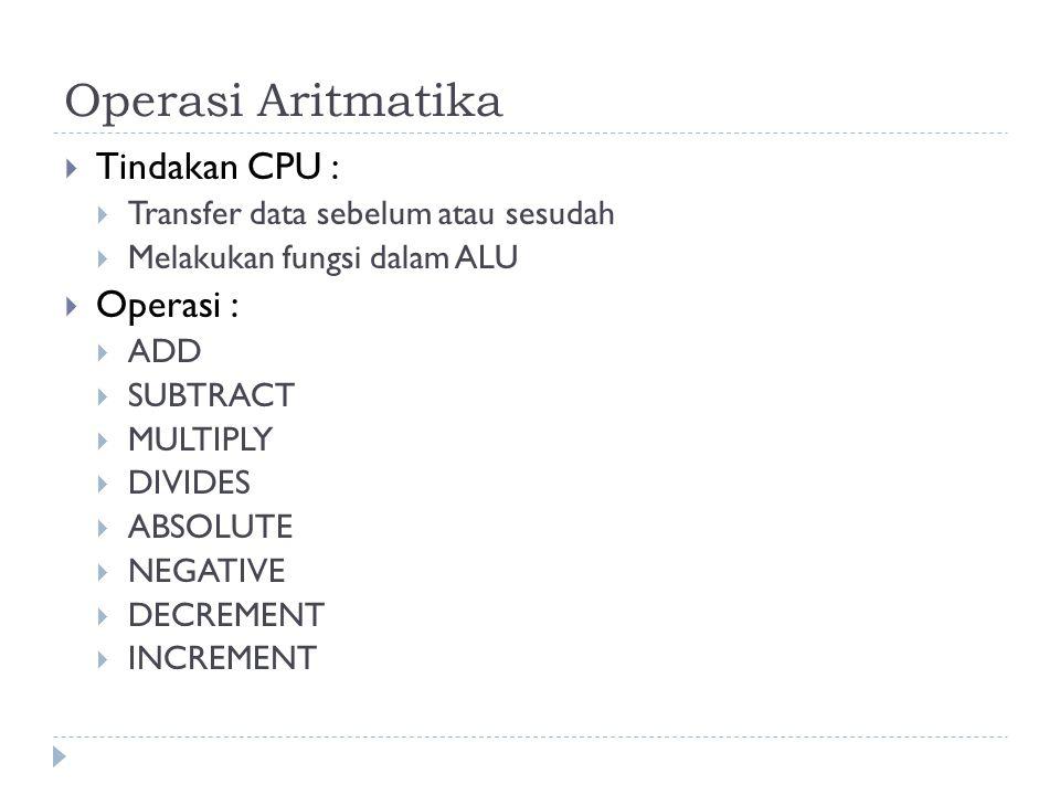 Operasi Aritmatika  Tindakan CPU :  Transfer data sebelum atau sesudah  Melakukan fungsi dalam ALU  Operasi :  ADD  SUBTRACT  MULTIPLY  DIVIDE