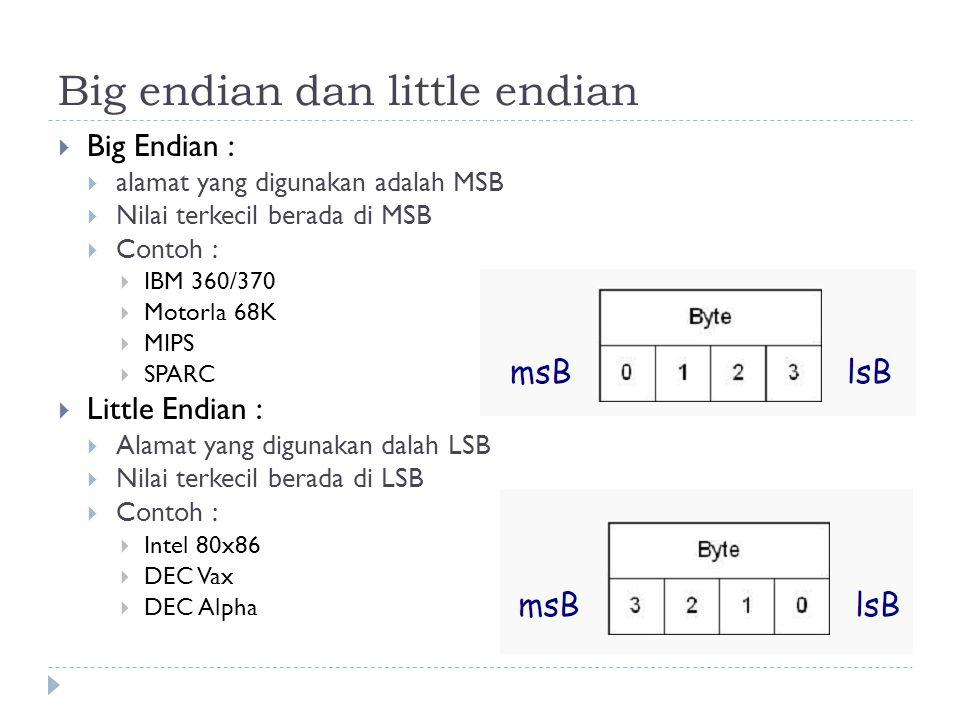 Big endian dan little endian  Big Endian :  alamat yang digunakan adalah MSB  Nilai terkecil berada di MSB  Contoh :  IBM 360/370  Motorla 68K 