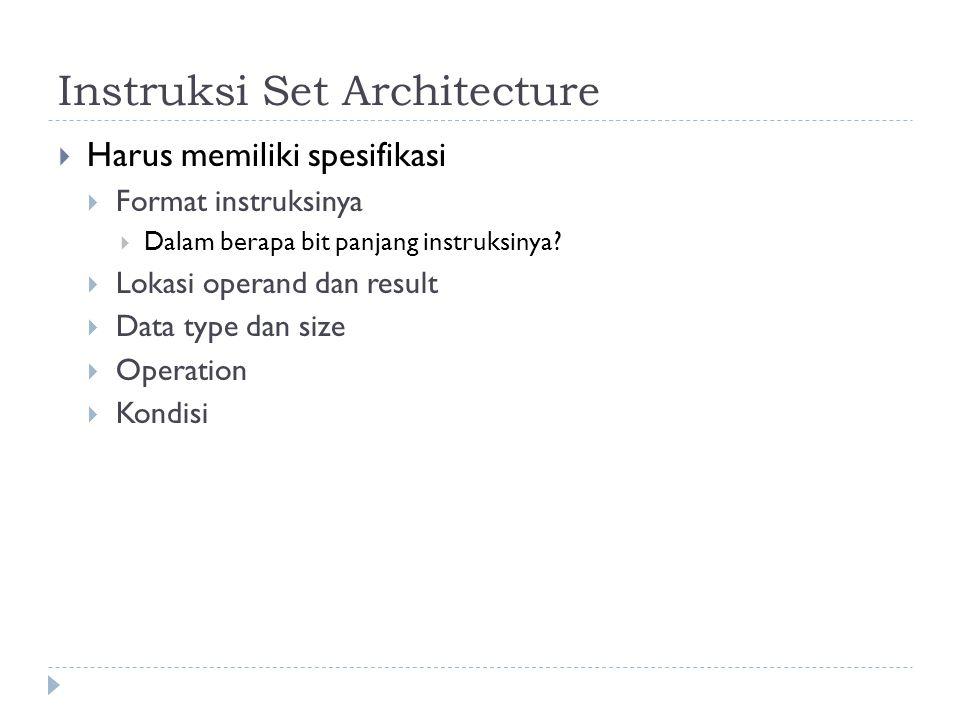 Instruksi Set Architecture  Harus memiliki spesifikasi  Format instruksinya  Dalam berapa bit panjang instruksinya?  Lokasi operand dan result  D