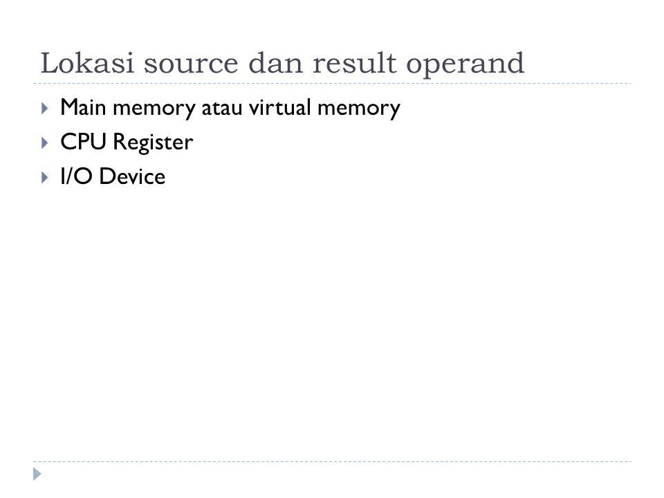 Lokasi source dan result operand  Main memory atau virtual memory  CPU Register  I/O Device