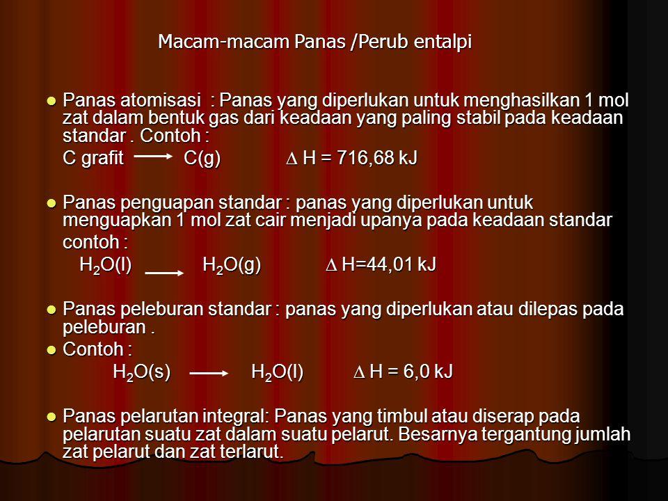 Macam-macam Panas /Perub entalpi Panas atomisasi : Panas yang diperlukan untuk menghasilkan 1 mol zat dalam bentuk gas dari keadaan yang paling stabil pada keadaan standar.