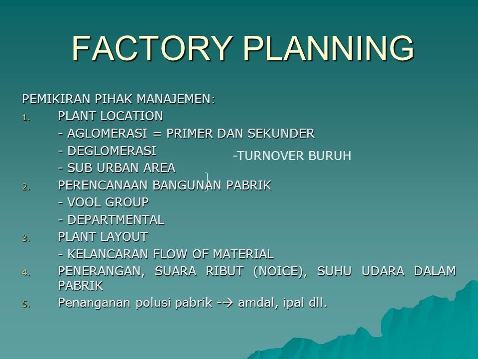 FACTORY PLANNING PEMIKIRAN PIHAK MANAJEMEN: 1. PLANT LOCATION - AGLOMERASI = PRIMER DAN SEKUNDER - DEGLOMERASI - SUB URBAN AREA 2. PERENCANAAN BANGUNA