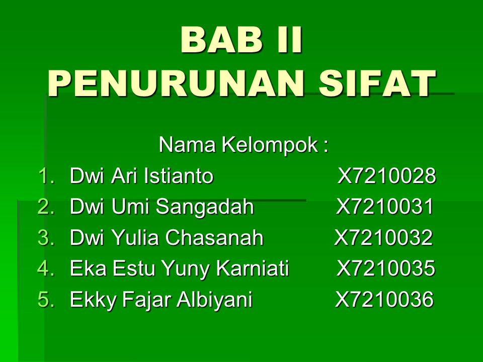 BAB II PENURUNAN SIFAT Nama Kelompok : 1.Dwi Ari Istianto X7210028 2.Dwi Umi Sangadah X7210031 3.Dwi Yulia Chasanah X7210032 4.Eka Estu Yuny Karniati