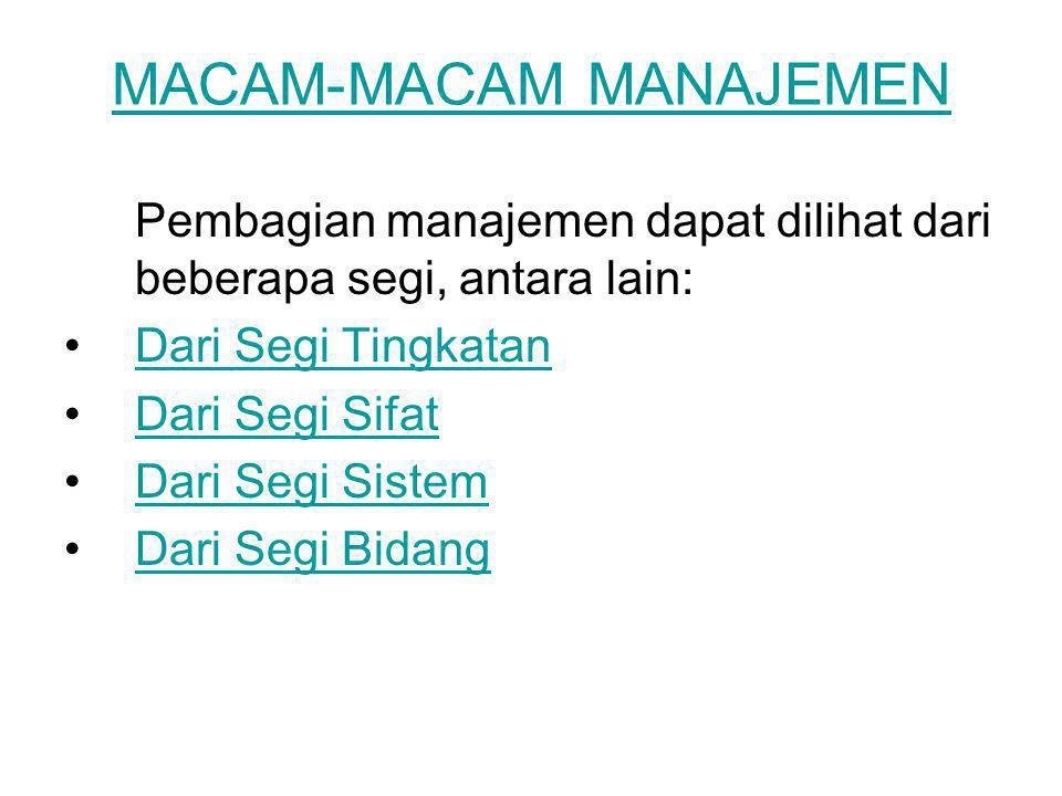 Manajemen Dari Segi Tingkatan Top Management Middle Management Lower Management