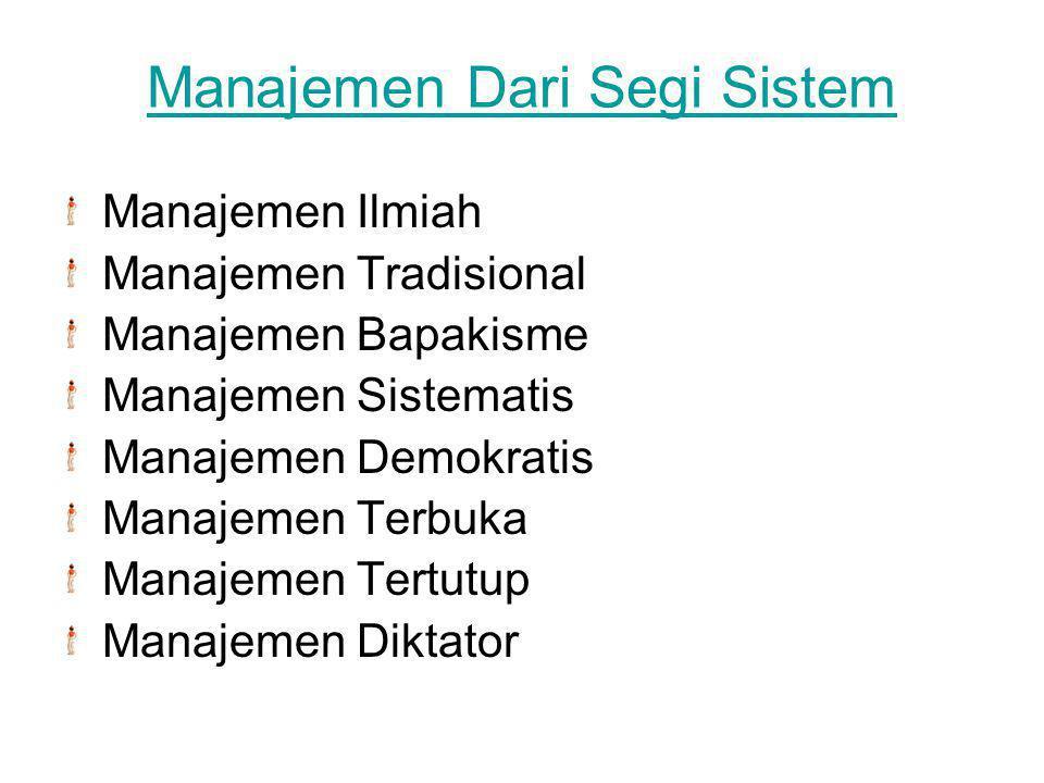 Manajemen Dari Segi Sistem Manajemen Ilmiah Manajemen Tradisional Manajemen Bapakisme Manajemen Sistematis Manajemen Demokratis Manajemen Terbuka Mana