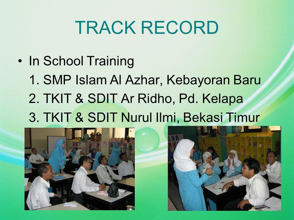 TRACK RECORD In School Training 1. SMP Islam Al Azhar, Kebayoran Baru 2. TKIT & SDIT Ar Ridho, Pd. Kelapa 3. TKIT & SDIT Nurul Ilmi, Bekasi Timur