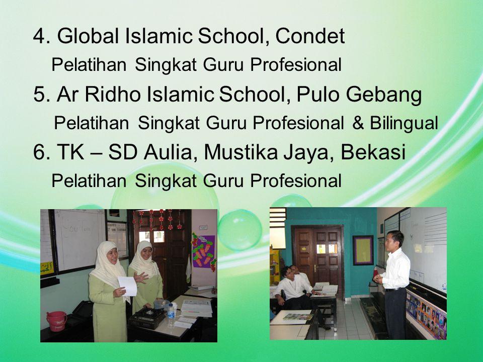 4. Global Islamic School, Condet Pelatihan Singkat Guru Profesional 5. Ar Ridho Islamic School, Pulo Gebang Pelatihan Singkat Guru Profesional & Bilin