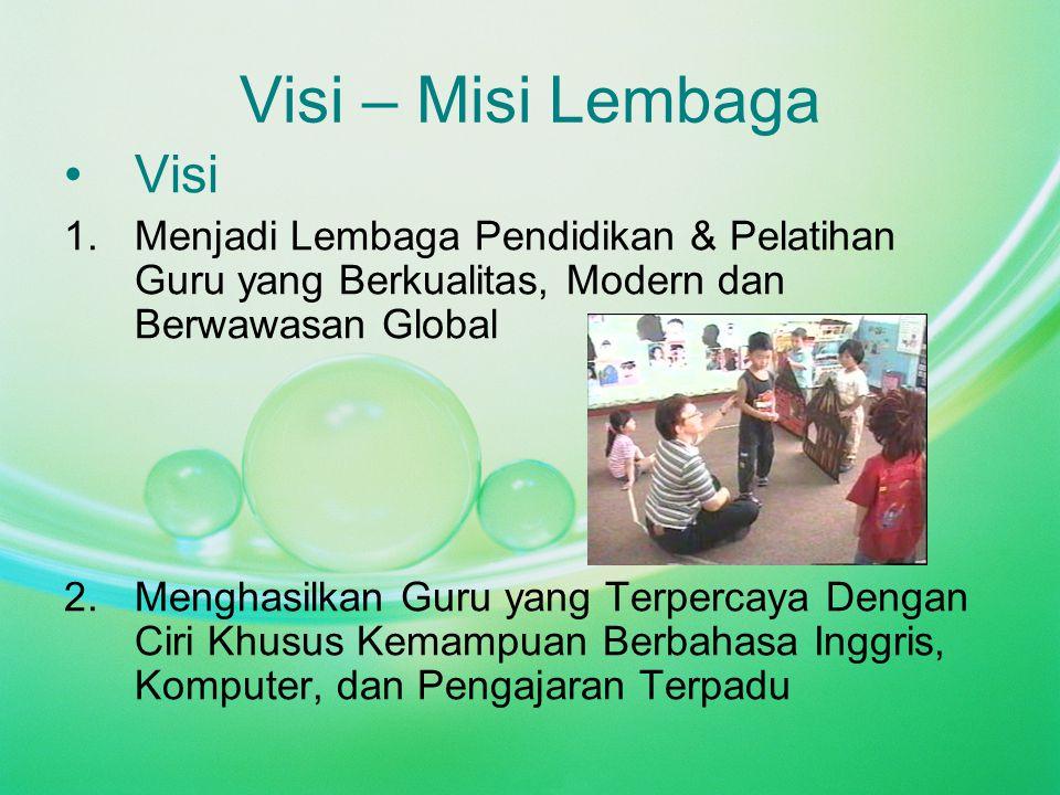 Visi – Misi Lembaga Visi 1.Menjadi Lembaga Pendidikan & Pelatihan Guru yang Berkualitas, Modern dan Berwawasan Global 2.Menghasilkan Guru yang Terpercaya Dengan Ciri Khusus Kemampuan Berbahasa Inggris, Komputer, dan Pengajaran Terpadu