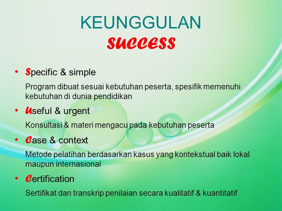 KEUNGGULAN SUCCESS S pecific & simple Program dibuat sesuai kebutuhan peserta, spesifik memenuhi kebutuhan di dunia pendidikan U seful & urgent Konsul