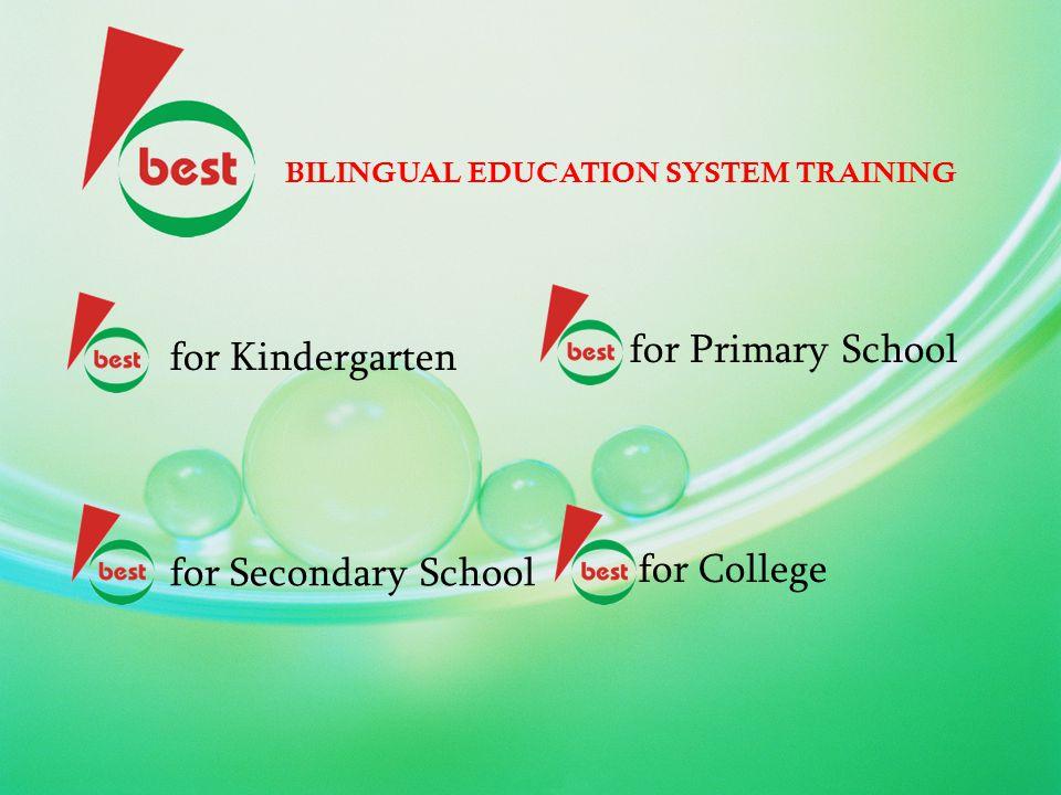 BILINGUAL EDUCATION SYSTEM TRAINING Program ini bertujuan menghasilkan guru / dosen berbagai bidang studi untuk mengajar dengan bahasa pengantar bahasa Inggris Contoh : Guru matematika mengajar dengan bahasa Inggris