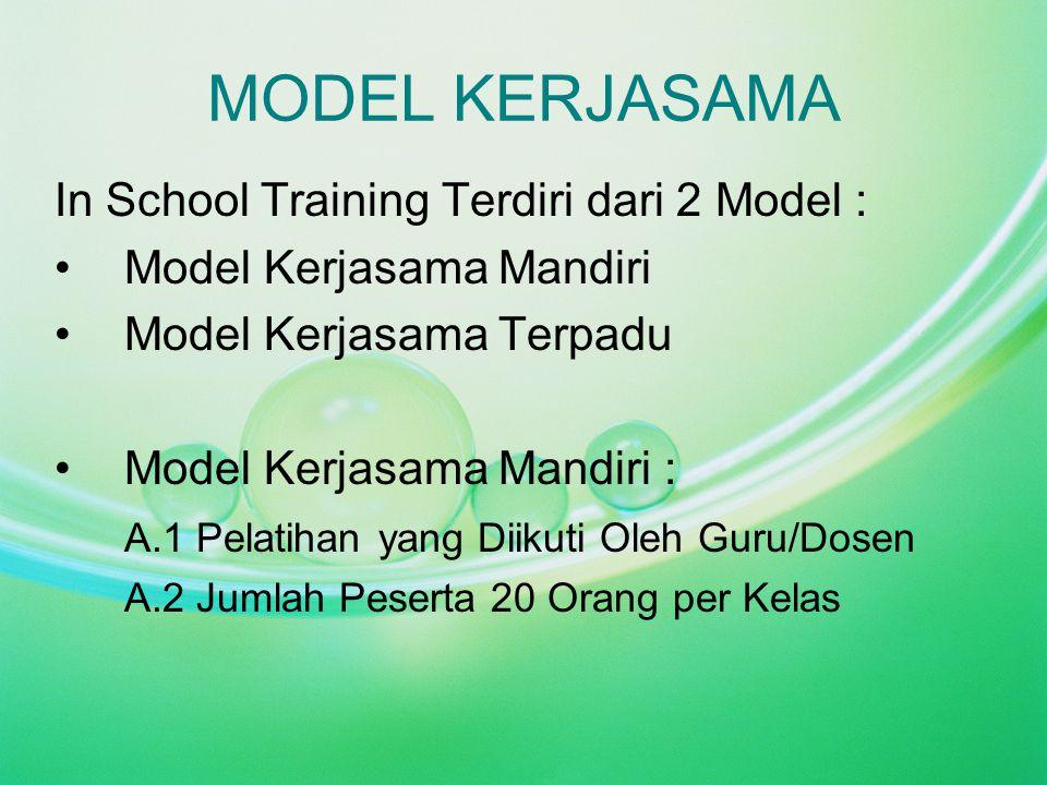 MODEL KERJASAMA In School Training Terdiri dari 2 Model : Model Kerjasama Mandiri Model Kerjasama Terpadu Model Kerjasama Mandiri : A.1 Pelatihan yang