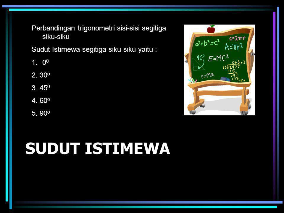 SUDUT ISTIMEWA Perbandingan trigonometri sisi-sisi segitiga siku-siku Sudut Istimewa segitiga siku-siku yaitu : 1.0 0 2. 30 o 3. 45 0 4. 60 o 5. 90 o