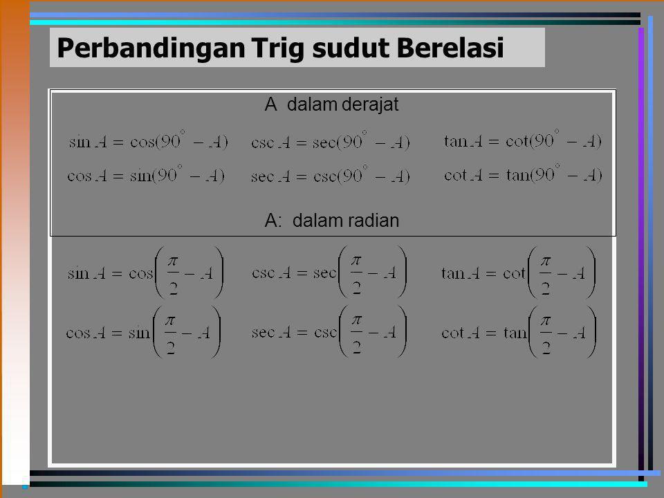 Perbandingan Trig sudut Berelasi A dalam derajat A: dalam radian
