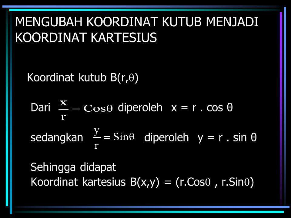 MENGUBAH KOORDINAT KUTUB MENJADI KOORDINAT KARTESIUS Koordinat kutub B(r,  ) Dari diperoleh x = r. cos θ sedangkan diperoleh y = r. sin θ Sehingga di