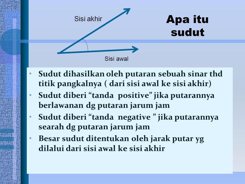 """Sudut dihasilkan oleh putaran sebuah sinar thd titik pangkalnya ( dari sisi awal ke sisi akhir) Sudut diberi """"tanda positive"""" jika putarannya berlawan"""