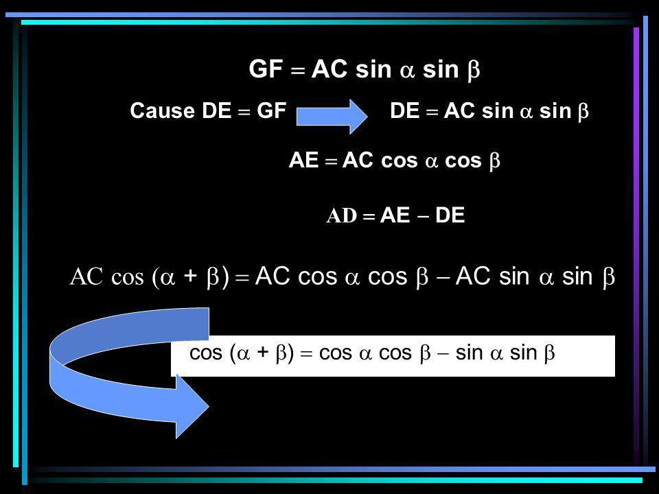GF  AC sin  sin  Cause DE  GF DE  AC sin  sin  AE  AC cos  cos  AD  AE  DE cos (  +  )  cos  cos   sin  sin  AC cos (  +  )  AC