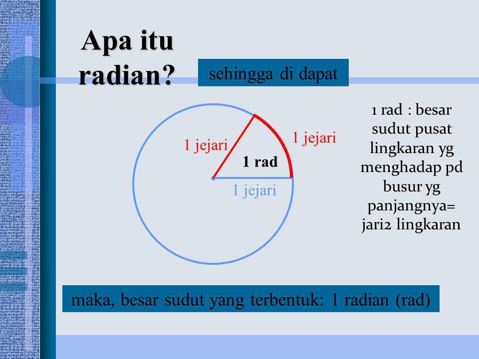 1 jejari maka, besar sudut yang terbentuk: 1 radian (rad) 1 rad sehingga di dapat Apa itu radian? 1 rad : besar sudut pusat lingkaran yg menghadap pd