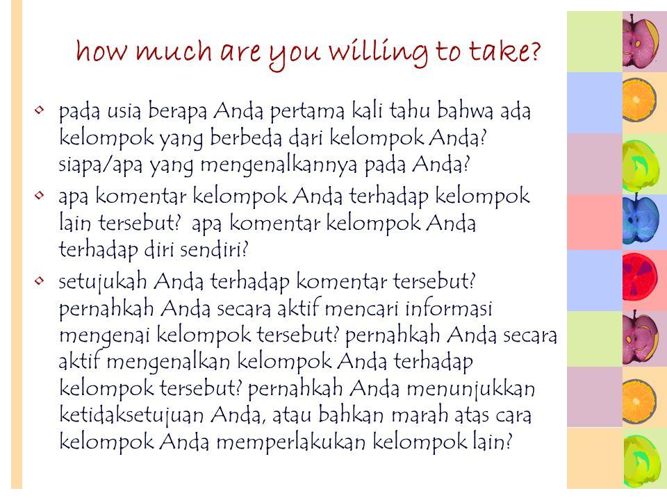 how much are you willing to take? pada usia berapa Anda pertama kali tahu bahwa ada kelompok yang berbeda dari kelompok Anda? siapa/apa yang mengenalk