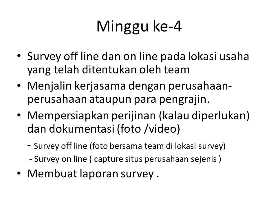 Minggu ke-4 Survey off line dan on line pada lokasi usaha yang telah ditentukan oleh team Menjalin kerjasama dengan perusahaan- perusahaan ataupun para pengrajin.