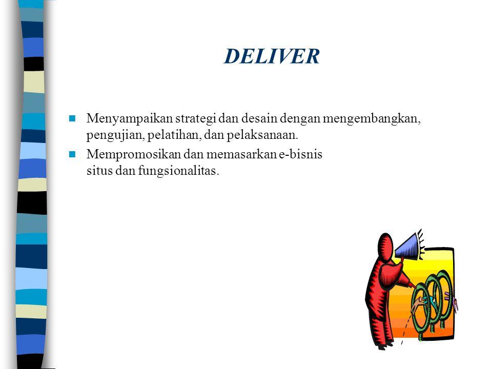 DESIGN Desain tampilan dan nuansa yang diperlukan untuk melaksanakan strategi dan nilai proposisi. Identifikasi navigasi dan layardesain. Desain perub