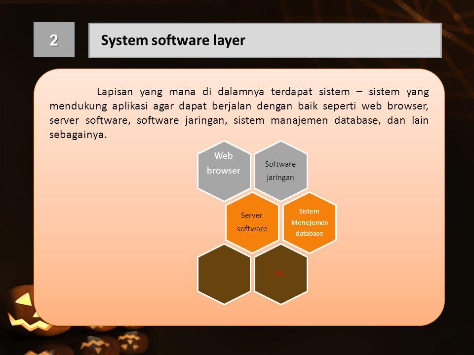 2 System software layer Lapisan yang mana di dalamnya terdapat sistem – sistem yang mendukung aplikasi agar dapat berjalan dengan baik seperti web bro