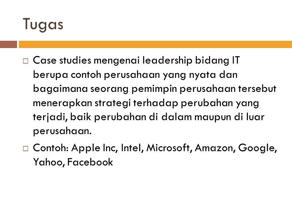 Tugas  Case studies mengenai leadership bidang IT berupa contoh perusahaan yang nyata dan bagaimana seorang pemimpin perusahaan tersebut menerapkan s