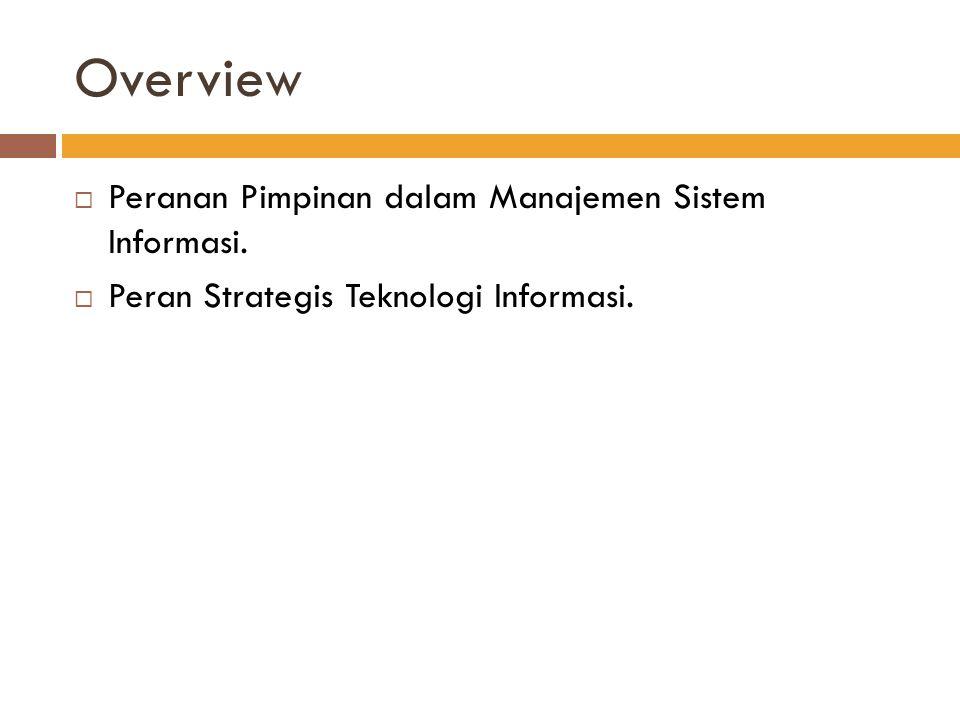 Overview  Peranan Pimpinan dalam Manajemen Sistem Informasi.  Peran Strategis Teknologi Informasi.