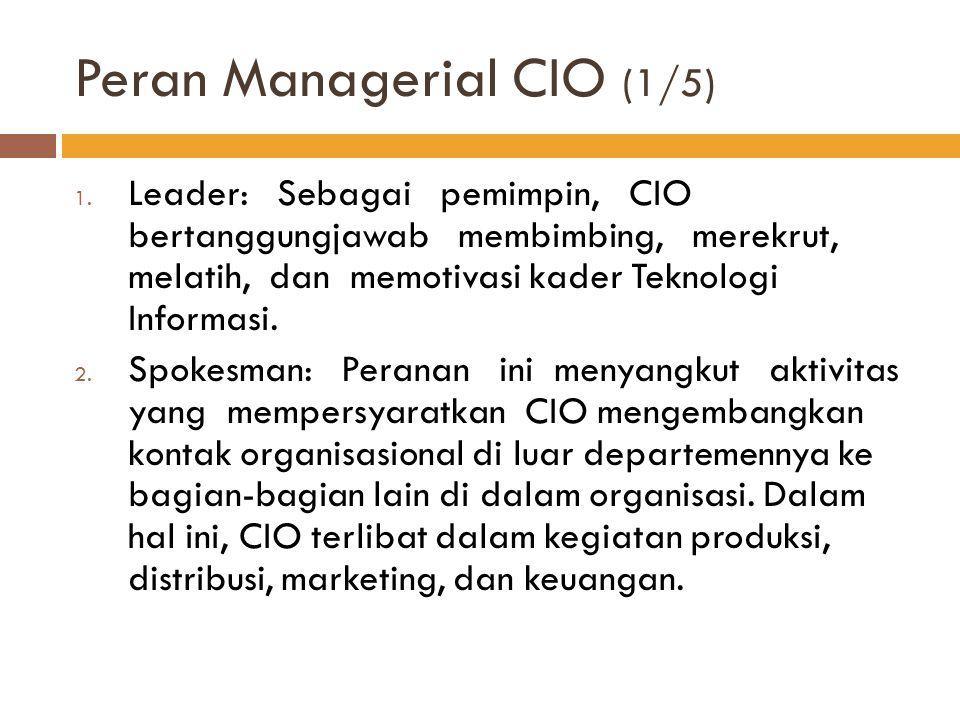 Peran Managerial CIO (1/5) 1. Leader: Sebagai pemimpin, CIO bertanggungjawab membimbing, merekrut, melatih, dan memotivasi kader Teknologi Informasi.